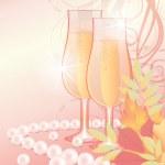 Autumn love wedding card, vector illustration — Stock Vector