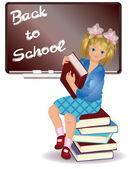 Voltar para a escola. menina com livro. ilustração vetorial — Vetor de Stock