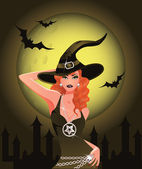 Sexy Halloween Witch girl, vector illustration — Stock Vector