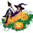 Sexy witch  with pumpkin, vector illustration — Stock Vector