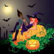 Halloween night card with sexy witch, vector illustration — Stock Vector #6397554