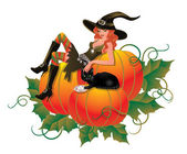 Witch with pumpkin and black cat, vector illustration — Stock Vector