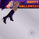 Happy Halloween card with sexy woman witch legs, vector illustration — Stock Vector