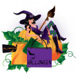Halloween shopping, vector illustration — Stock Vector