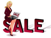 Verkoop bedrijf meisje met laptop. vectorillustratie — Stockvector