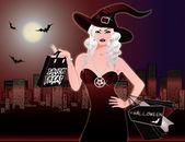Halloween night shopping, vector illustration — Stock Vector