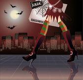 Halloween shopping, vector illustration — Stock Vector