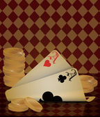 Poker card old wallpaper, vector illustration — Stock Vector