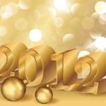 Golden New Year 2012, vector illustration — Stock Vector