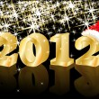 Christmas Greeting Card, Golden New Year 2012, vector - Stock Vector