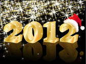 Christmas Greeting Card, Golden New Year 2012, vector — Vecteur