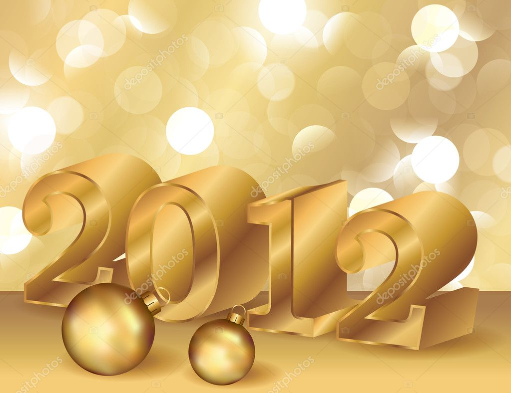 Golden New Year 2012, vector illustration — Stock Vector #6689114
