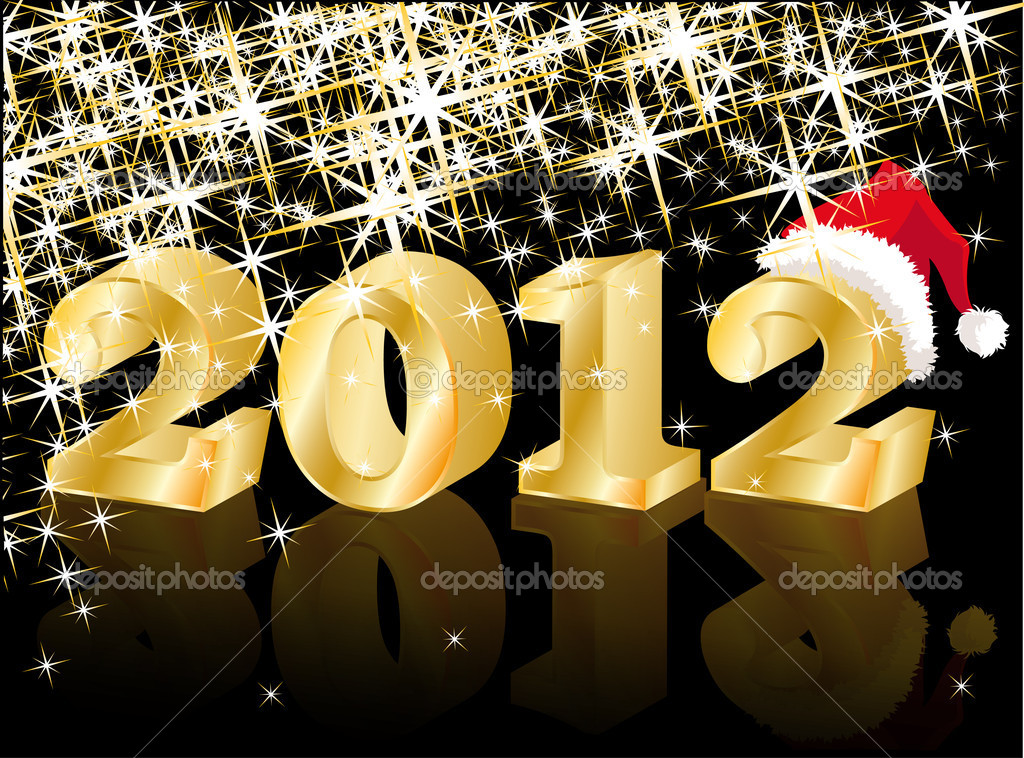 Christmas Greeting Card, Golden New Year 2012, vector illustration  Vettoriali Stock  #6689128