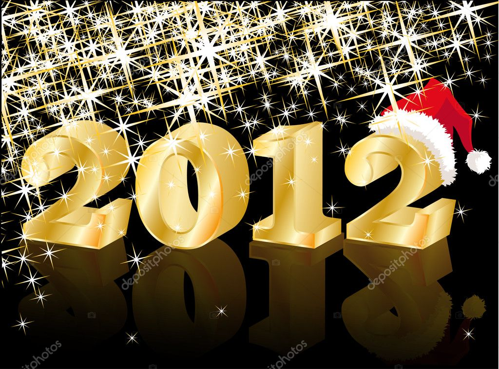 Christmas Greeting Card, Golden New Year 2012, vector illustration — Imagen vectorial #6689128