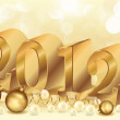 Beautiful Golden New year 2012 with pearls, vector — Stock Vector