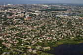 Aerial view of industrial area by the sea, city Liepaja. — Stock Photo