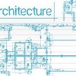 Architectural blueprints over a blue background — 图库照片