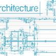 mavi bir arka plan üzerinde mimari planlar — Stok fotoğraf
