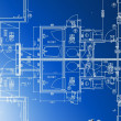 Sample of architectural blueprints over a blue background — Stockfoto