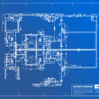 Sample of architectural blueprints over a blue background — 图库照片