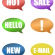 Thought Bubbles With different messages over a white background. vector - Foto Stock