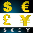 Money currency symbols. - Foto de Stock