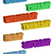 Text. Days of the Week isolated over a white background / Days of the Week - Stock Photo