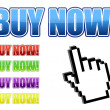 Vector hand cursor with buy now signs. Vector File available — Stock Photo #6413657