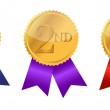 Gold award ribbons with place numbers illustration design — Stock Photo