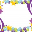 Celebration balloon frame with stars isolated over a white background — Stock Photo