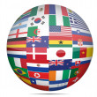 Royalty-Free Stock Photo: Flags of the world in globe format over a white background.