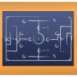 Stock Photo: Soccer tactics drawing on chalkboard