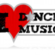 I love dance music design heart over a white background. — Stock Photo