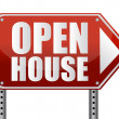 Stock Photo: Open house sign isolated over white background.