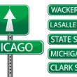 Chicago street signs isolated over white — Stock Photo #6415507
