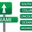 Stock Photo: Miami Floridstreet signs isolated over white background