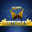 Happy birthday logo sign with golden stars ans rays of light and party hats — Zdjęcie stockowe