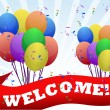 Colorful Welcome balloons and banner illustration design — Stock Photo