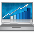 Stock Photo: Realistic grey laptop with growth graph isolated on background. Vector illu