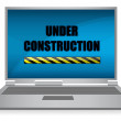 Laptop Under construction isolated on background. - Foto de Stock