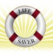 Stock Photo: Life preserver over sun rays background.