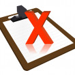 Clipboard with x mark illustration design over a white background — Stock Photo #6417629