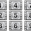Stock Photo: Highly detailed film countdown numbers. (one Through nine)