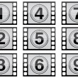 Highly detailed film countdown numbers. (one Through nine) — Stock Photo #6417661