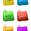 Post it short messages isolated over a white background. — Stock Photo