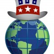 US globe hat illustration design isolated over a white background - Foto de Stock