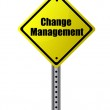 Change management posted on a yellow sign. — Stock Photo