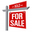 Stock Photo: Real estate sign over white