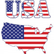 Stock Photo: United States vector map and text. vector file available