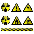 Stock Photo: Vector of chemical hazard symbols on white